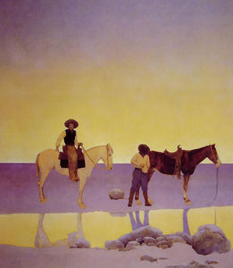 Maxfield Parrish - Cowboys- Caliente Muelles , Arizona
