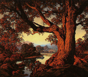 Maxfield Parrish - Riverbank en otoño