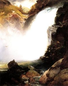 Thomas Moran - paisaje con waterfall