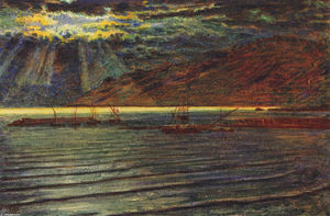 William Holman Hunt - Fishingboats por Moonlight