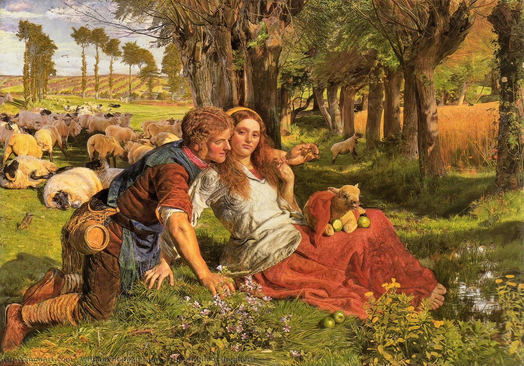 El pastor del Hireling, 1851 de William Holman Hunt (1827-1910, United Kingdom) | Reproducciones De Arte William Holman Hunt | WahooArt.com