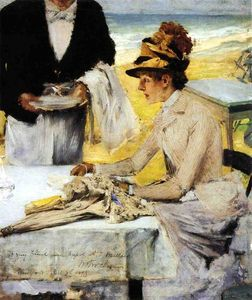 William Merritt Chase - Pedido de almuerzo por la playa