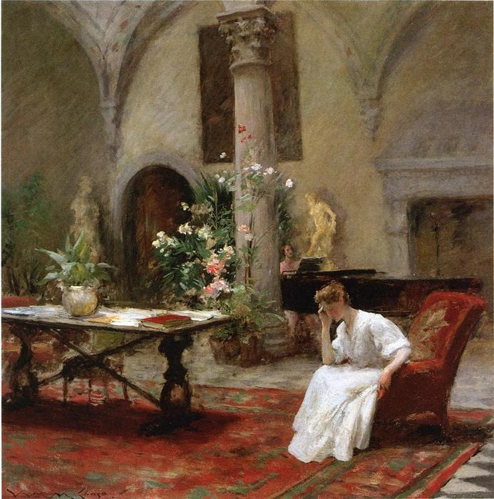 el canción, óleo sobre lienzo de William Merritt Chase (1849-1916, United States)