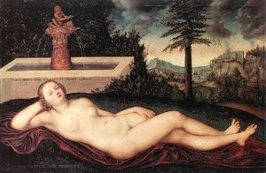Lucas Cranach The Elder - río reclinable ninfa  a  el  Fuente