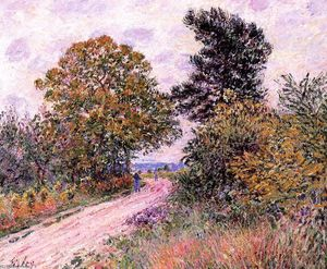 Alfred Sisley - Borde de la Fountainbleau Bosque Mañana