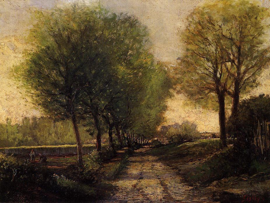 cerca Un pequeña ciudad , óleo sobre lienzo de Alfred Sisley (1839 ...