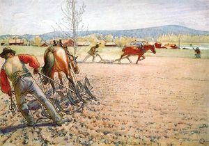 Carl Larsson - Harrowing El Campo