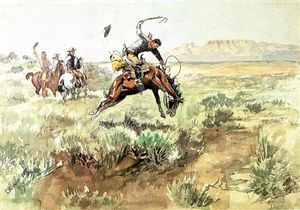 Charles Marion Russell - Bronco revienta