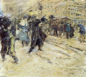 Everett Shinn - nieve tormenta , Madison Cuadrado , nueva york