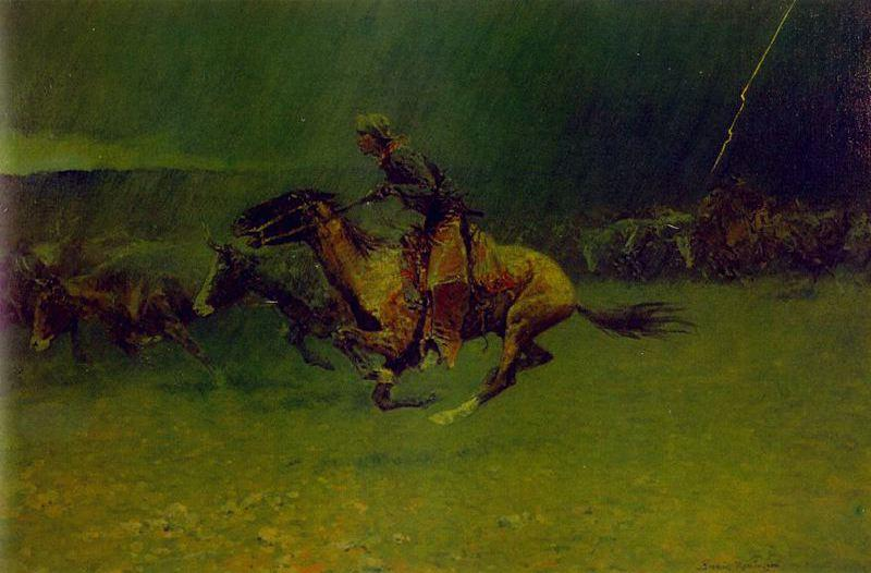 La Estampida, óleo de Frederic Remington (1861-1909, United States)