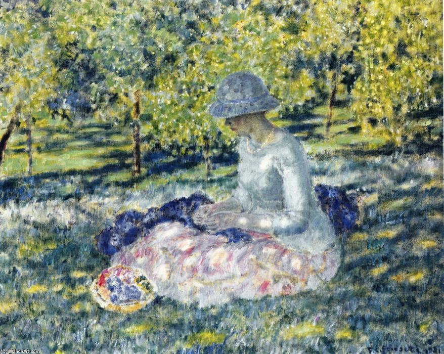 mujer en un parque: