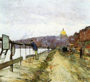 Frederick Childe Hassam - Charles Río y Faro Colina