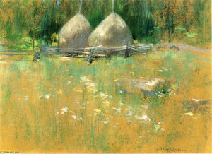 John Henry Twachtman - Haystacksat Borde Bosque