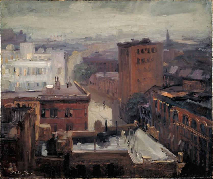 lluvia Tejados  Oeste  4th   calle , aceite de John Sloan (1871-1951, United States)