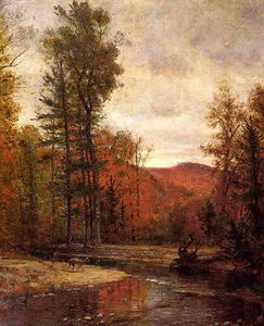Thomas Worthington Whittredge - Adirondack Woodland Con Dos ciervos