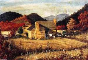 William Aiken Walker - Carolina del Norte Homestead con las montañas y campo