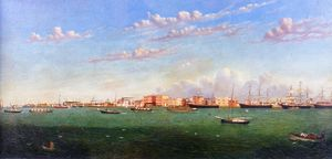 William Aiken Walker - Vista del puerto de Galveston