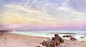 William Trost Richards - playa con rising sun , nueva jersey