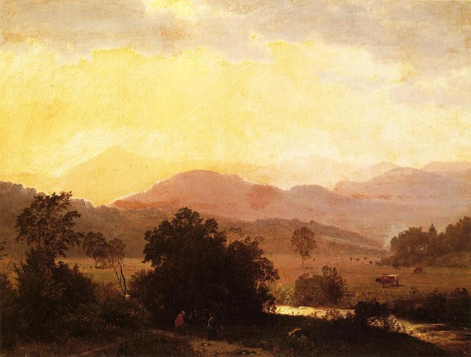 Vista de las montañas Adirondack, óleo sobre lienzo de William Trost Richards (1833-1905, United States)