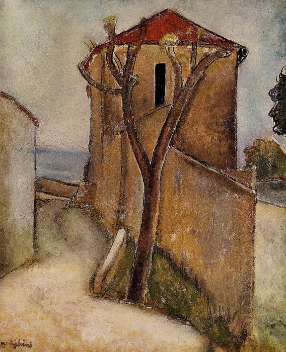 Amedeo Modigliani Painting Tree And House