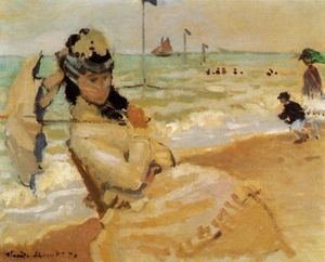 Claude Monet - Camille en la playa de Trouville