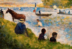 Georges Pierre Seurat - caballo y barcos