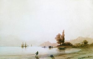Ivan Aivazovsky - vista on rocoso costa