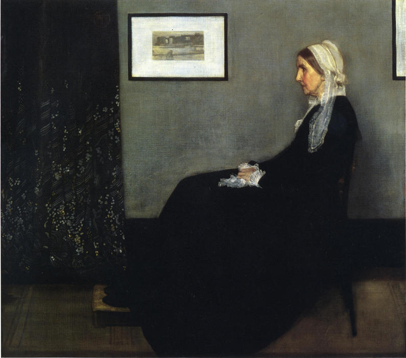 arreglo en gris y negro . Retrato de la Painter's Madre, aceite de James Abbott Mcneill Whistler (1834-1903, United States)