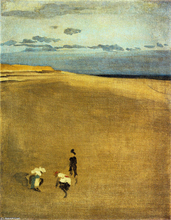 la playa a Selsey Pico, aceite de James Abbott Mcneill Whistler (1834-1903, United States)