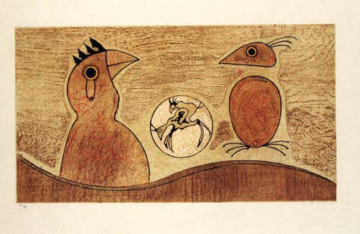 dos aves, aceite de Max Ernst (1891-1976, Germany)