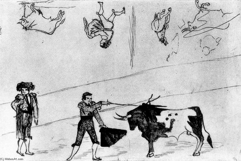 Corrida de toros, dibujo de Pablo Picasso (1881-1973, Spain)