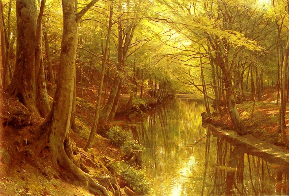 Una corriente Woodland, aceite de Peder Mork Monsted (1859-1941, Denmark)