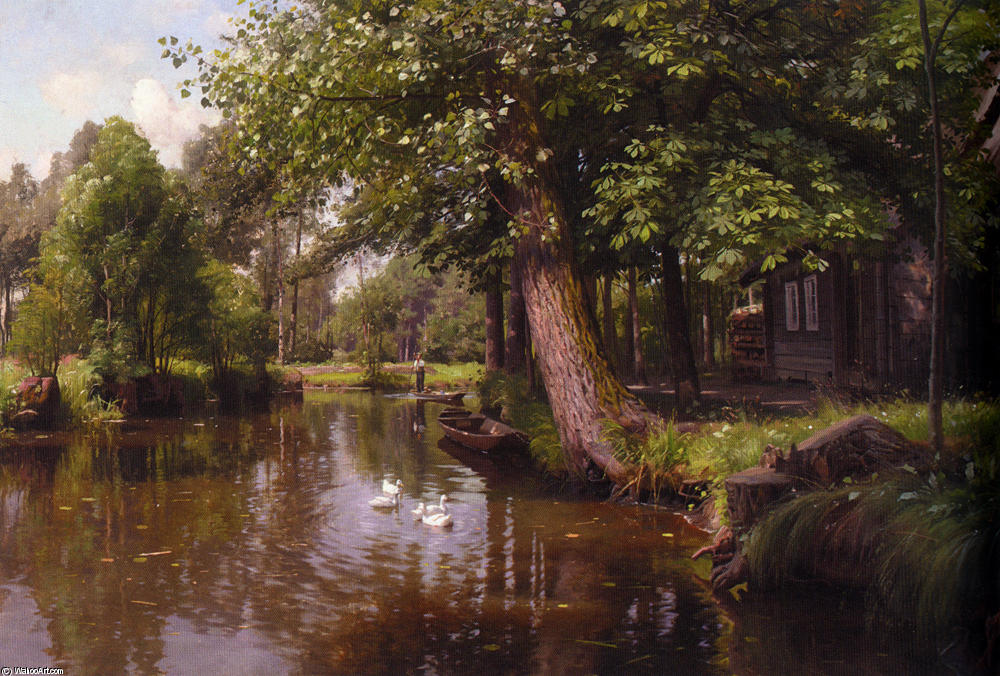 Flodbred, óleo de Peder Mork Monsted (1859-1941, Denmark)