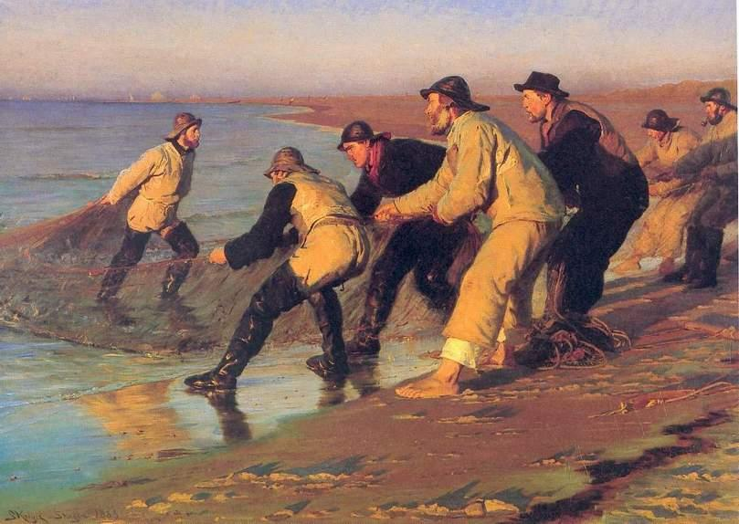 Pescadores en la playa, óleo de Peder Severin Kroyer (1851-1909, Norway)