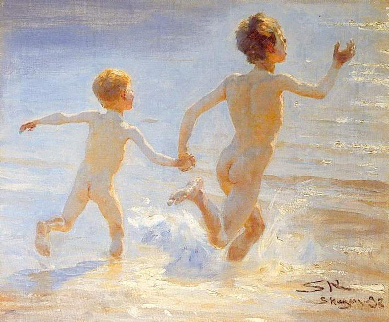 Playa de Skagen 1, óleo de Peder Severin Kroyer (1851-1909, Norway)