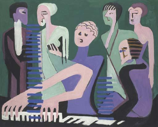 Cantatrice de piano pair o Pianistin de Ernst Ludwig Kirchner (1880-1938, Germany)