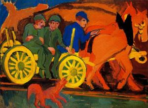 Ernst Ludwig Kirchner - chariot` y caballos con tres agricultores