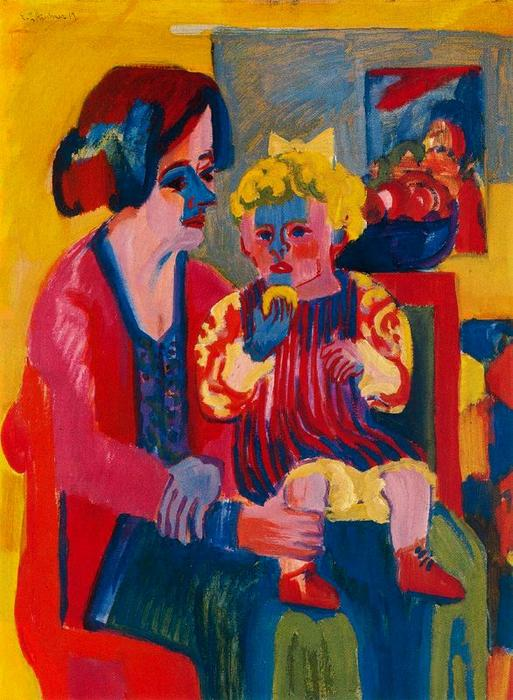 chica con bebé, aceite de Ernst Ludwig Kirchner (1880-1938, Germany)