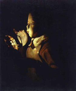 Georges De La Tour - niño `blowing` en una lámpara
