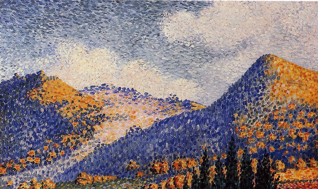 Paisaje , la pequeña Maresque Montañas, óleo sobre lienzo de Henri ...