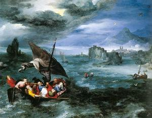 Jan Brueghel The Elder - cristo en el tormenta en el mar de galilea