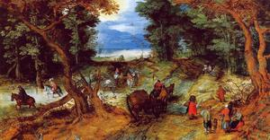 Jan Brueghel The Elder - bosque paisaje con viajeros