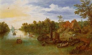 Jan Brueghel The Elder - Paisaje del río con Landing