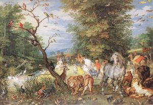 Jan Brueghel The Elder - Los animales que entran en el Arca