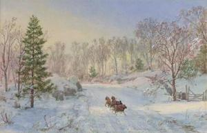 Jasper Francis Cropsey - noche sleigh ride , Ravensdale Camino , Hastings-on-Hudson , nueva york