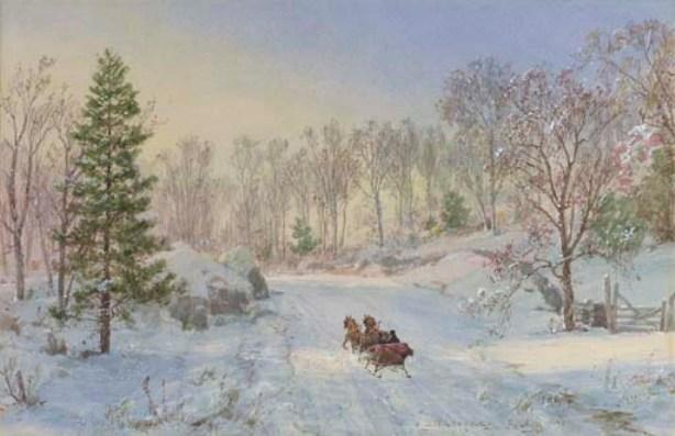 noche sleigh ride , Ravensdale Camino , Hastings-on-Hudson , nueva york de Jasper Francis Cropsey (1823-1900, United States) | WahooArt.com