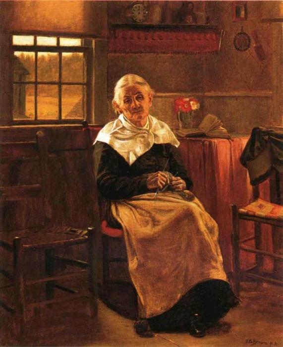 Dear Old abuelita, óleo sobre lienzo de John George Brown (1831-1913, United Kingdom)