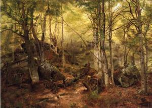 John George Brown - deerhunter` en el maderas