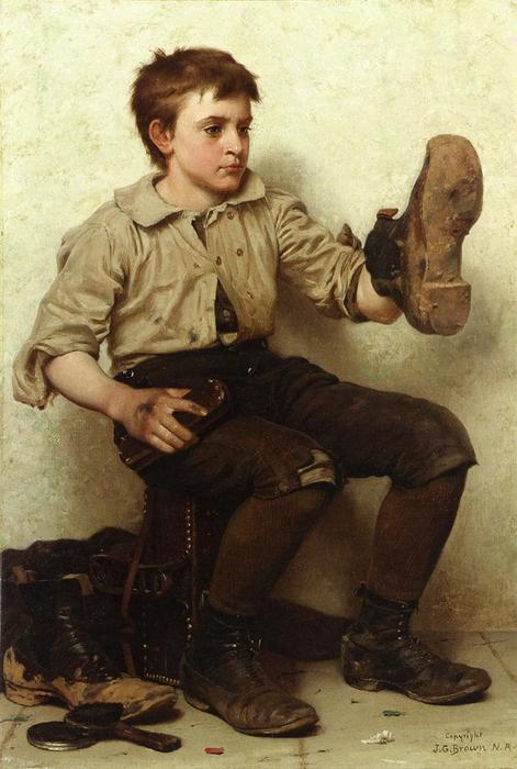 Jersey Barro, óleo sobre lienzo de John George Brown (1831-1913, United Kingdom)