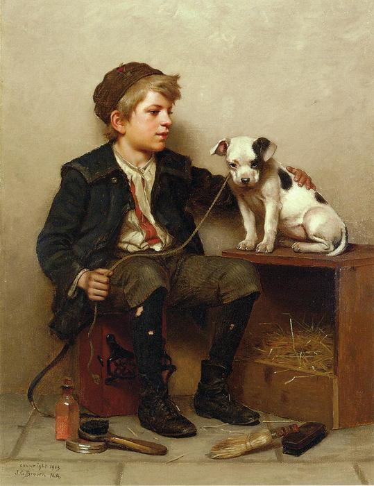 Mi mejor amigo, óleo sobre lienzo de John George Brown (1831-1913, United Kingdom)